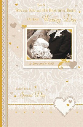 For A Special Son and His Beautiful Bride On Your Wedding Day Card by Grass Roots