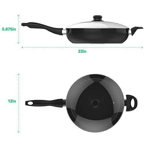 Vremi 12 Inch Nonstick Saute Pan Covered with Tempered Glass Lid - Big 5 Quart Capacity for Stir Fry Frying or as Saucepan - Non Stick Saute and Frying Pan - Deep Large and Ovenproof - Black by Vremi (Image #1)
