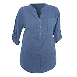 Clearance Sale! Seaintheson 2018 New Women Loose Long Sleeve Translucent Casual Button Pocket Tops Shirt Blouse