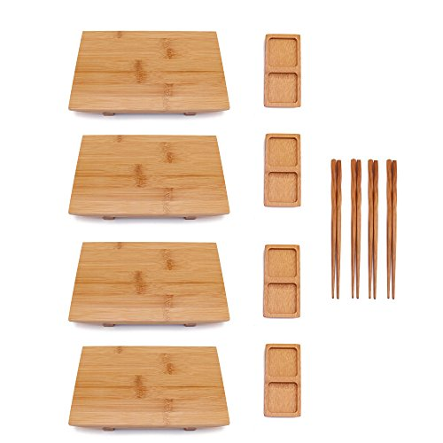 BambooMN Bamboo Sushi Board Tray, Chopsticks and Compartment Sauce Dish, 9.8