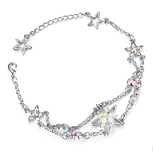 "Price comparison product image The Starry Night Austrian Crystal Lucky Star Fashion Shining 18K Charming Bracelet 6.61"" Color White"