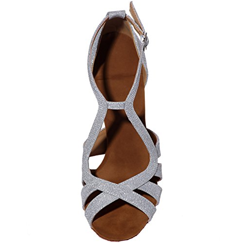 Sandals Ankle High ZXF8349 Women's Shoes Latin Dance Salsa Buckle Heel Sliver Ballroom Leather 07 Strap Clearbridal Yq1PvP