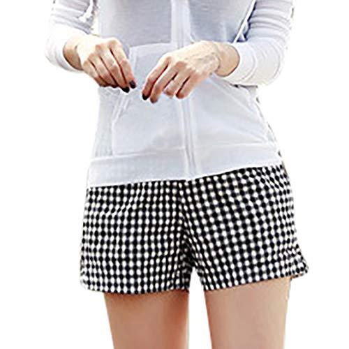Jumaocio Drawstring Elastic Waist Casual Comfy Cotton Linen Beach Shorts Fashion Women Summer Shorts Wide-Leg Trousers Lattice Printing Beach Pants Black