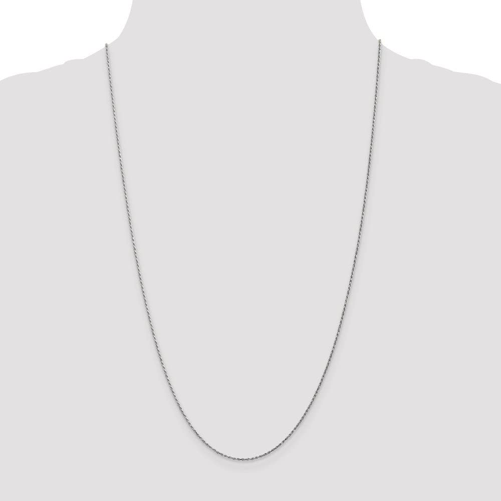 10k White Gold 1.15mm Machine Made Diamond Cut Rope Chain Necklace