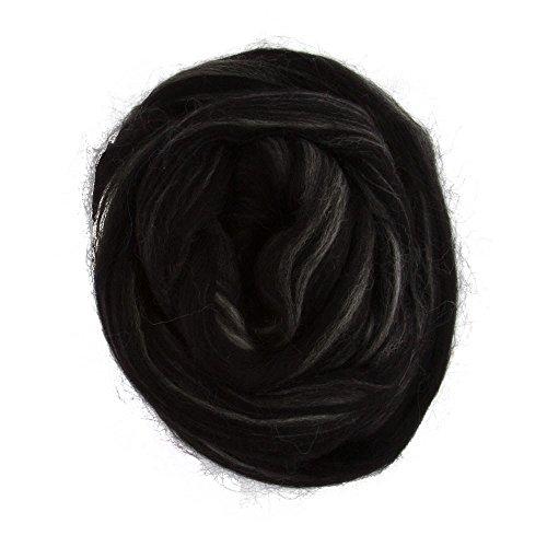 Gazzal Felt Wool 50g Needle Felting Wool Roving, 100% Wool (Variegated Black - 6115)