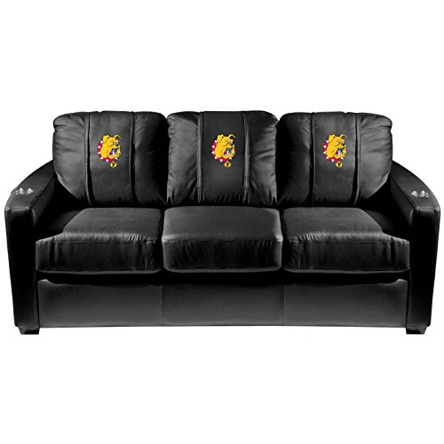XZipit College Silver Sofa with Ferris State Logo Panel, Black