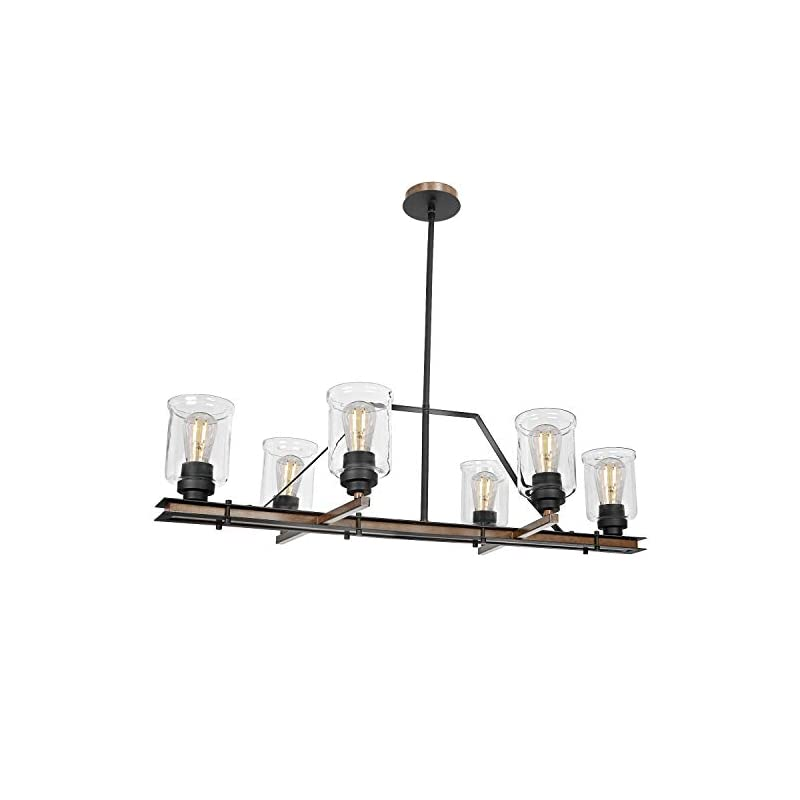 6-Light Farmhouse Linear Chandelier, 36 inch Dining Room Lighting Fixtures, Kitchen Island Pendant Lights with Glass…