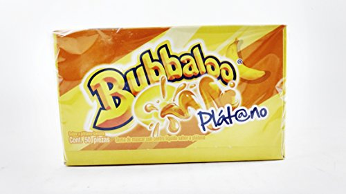 Bubbaloo Platano Banana Authentic Mexican Candy Gum 1 Pack of 50pcs with Free Chocolate Kinder Bar Included