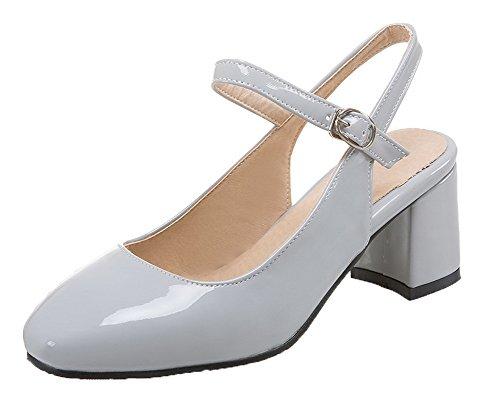 Femme Boucle Légeres Correct Talon Verni Chaussures Gris à Unie Couleur VogueZone009 qFwdRZWq