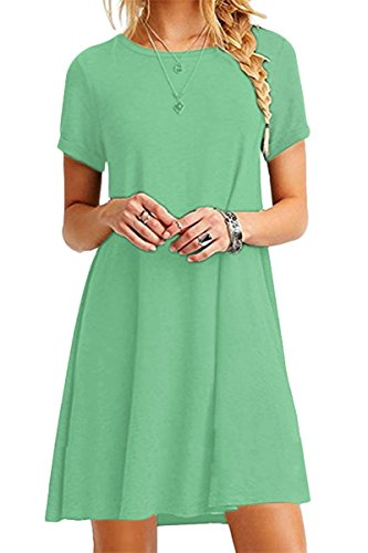 - YMING Women's Elegant Comfy Simple Dress A Line Basic Simple Dress Light Green XL