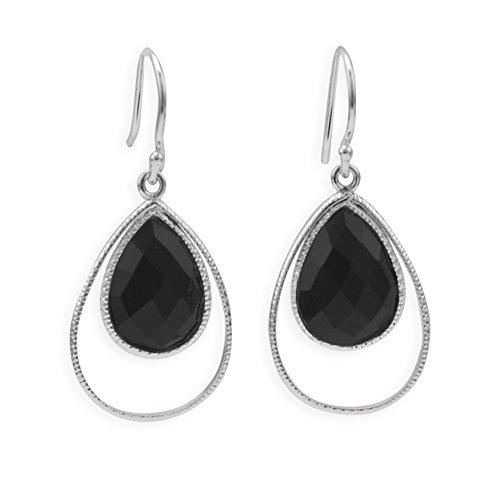 Textured Sterling Silver French Wire Earrings, 10x14mm Teardrop Black Onyx, 7/8 inch