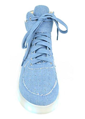 Chase & Chloe Twinkle-4 Dames Hoge Sneakers Met Veters Van Hoge Sneakers, Denim
