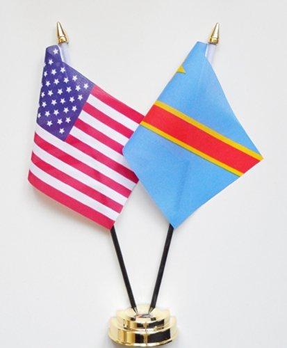 United States of America & Congo-Kinshasa Friendship Table Flag Display 25cm (10