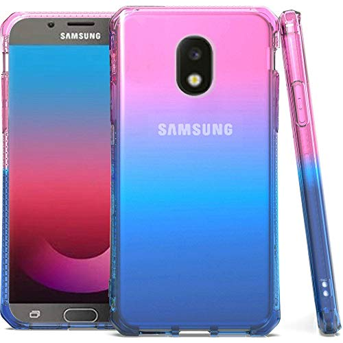 Shockproof TPU Slim Fit Protective Phone Cover Case and Atom Cloth for Samsung Galaxy J7 Refine - Pink/Blue/Dark Blue