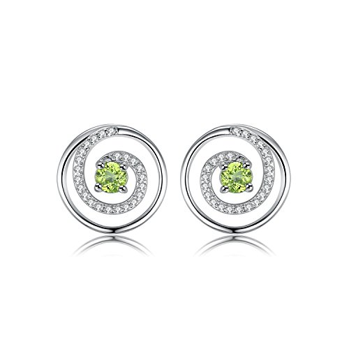 JewelryPalace Circular Swirl 0.2CT Genuine Peridot Stud Earrings 925 Sterling (Circular Cubic Zirconia Earrings)