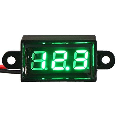 "SMAKN® GREEN 2 Wires 0.28"" Mini Waterproof Dc Voltmeter Led Digital Display Voltmeter Gauge LED Voltage Detector Automatic Precision"