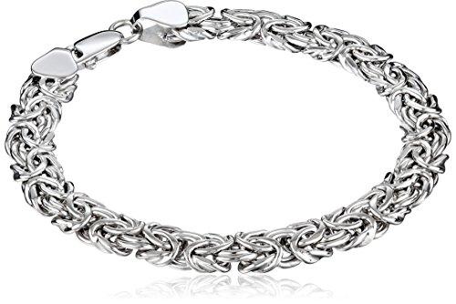 14k White Gold Byzantine Chain Bracelet, 7.5