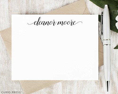 Personalized Flat Cards Stationery - GRACEFUL SCRIPT - Personalized Flat Modern Stationery/Stationary Set