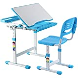 Costzon Kids Desk and Chair Set, 0-40 Degree Table Top Adjustable Tilt for Painting, Spacious Pull Out Drawer, Height Adjustable, School Study Workstation for Children (Blue)