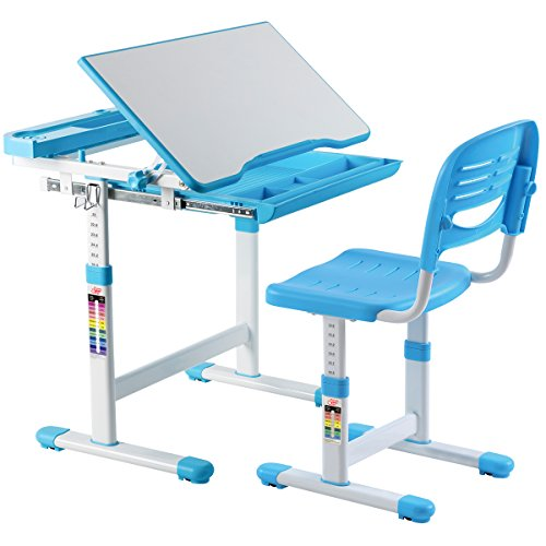 Costzon Kids Desk and Chair Set, 0-40 Degree Table Top Adjustable Tilt for Painting, Spacious Pull Out Drawer, Height Adjustable, School Study Workstation for Children (Blue) by Costzon