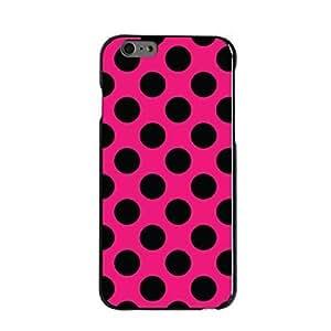 "CUSTOM Black Hard Plastic Snap-On Case for Apple iPhone 6 Plus (5.5"" Model) - Black & Hot Pink Polka Dots"