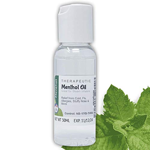 Note Therapeutic Liquid Menthol Oil 1-4oz - USP Grade Natural Menthol for Cold, Flu, and Sinus Relief (30mL/1oz)