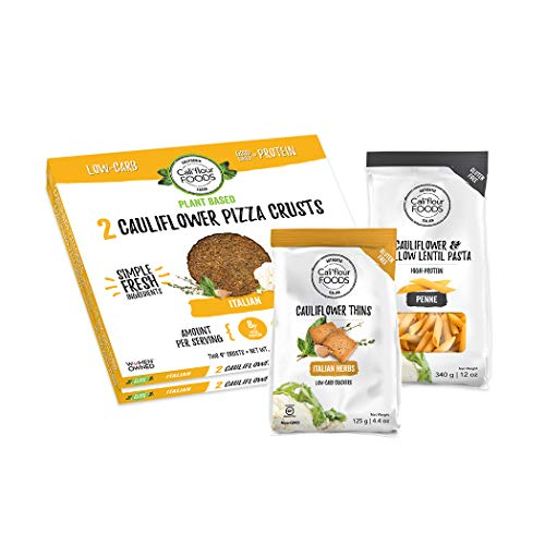 NEW Califlour Flavor of Italy Bundle - 2 Boxes of Plant-Based Italian Crusts (4 Crusts Total), 1 Bag Each of Califlour Penne & Italian Herbs Thins (Please note our Thins are NOT Vegan)