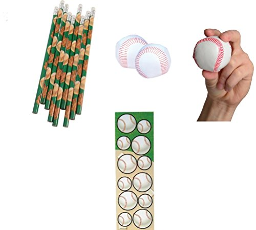 (Baseball Theme Party Favor Set/12 Pencils/12 Mini Foam Baseballs/12 Baseball Sticker Sheets)
