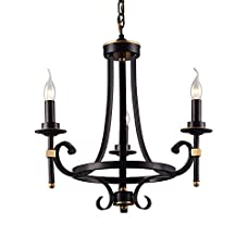 LNC 3-light Chandelier, Vintage Black Iron Candle Candelabra Pendant Lighting