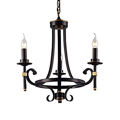 LNC 3-light Chandelier, Vintage Black Iron Candle Candelabra Pendant Lighting