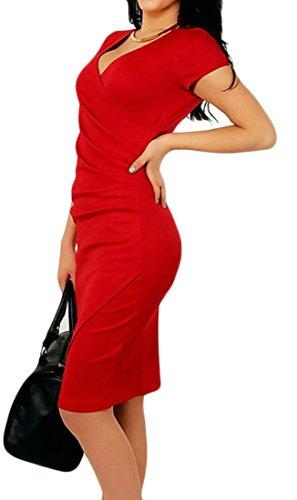 Cromoncent Femmes Sexy Moulante V-cou Bureau Couleur Pure Robe Crayon Irrégulière Rouge Foncé