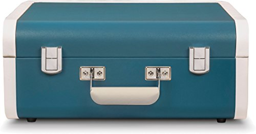 Crosley Portfolio Vintage 3-Speed Bluetooth Suitcase Turntable with Built-in Speakers, Turquoise/White