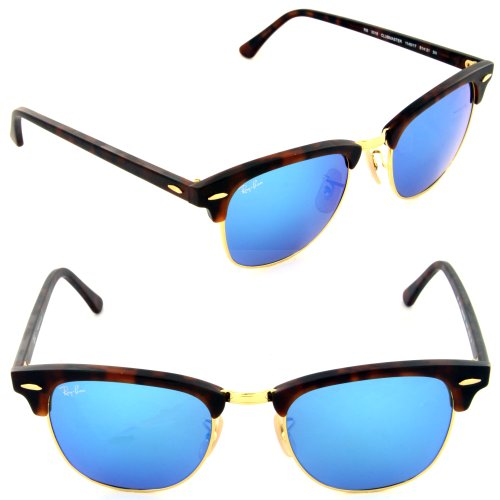 New Ray Ban Clubmaster Flash RB3016 114517 Tortoise/Grey Mirror Blue 51mm - Clubmaster Mirror Blue Ray Ban