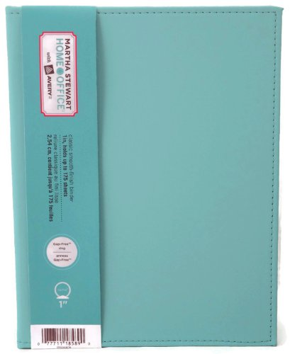 """Martha Stewart Home Office with Avery Blue Shagreen Smooth Finish Small-format Binder, 1"""" Gap-free Rings"""