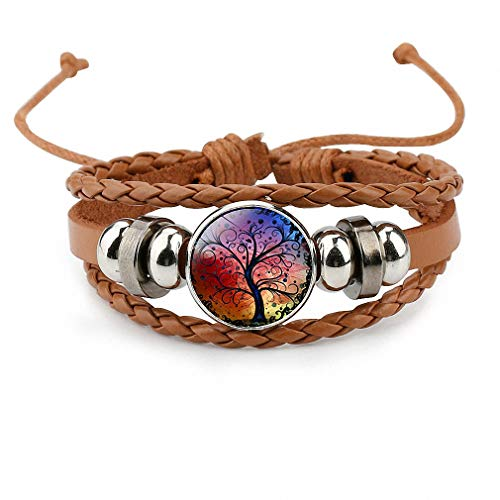 Giwotu Womens Vintage Colorful Life Tree Art Glass Cabochon Multi-Layer Bracelet Bead Leather Bracelet Men Women Fashion Jewelry Brown