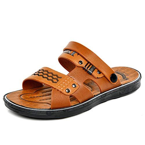 - Men Platform Sandals 2019 New 2 Strap Casual Slip-On Outdoor Beach Water Slippers (US:8.5, Orange)