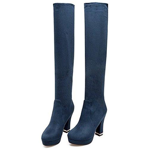Autumn 1401 TAOFFEN Over Heel Knee Block Shoes Classical Boots High Blue Women wxvwRH