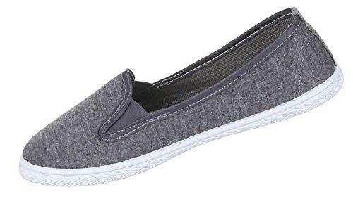 Damen Schuhe Halbschuhe Bequeme Stretch Schlupfschuhe Sommer Slipper Grau