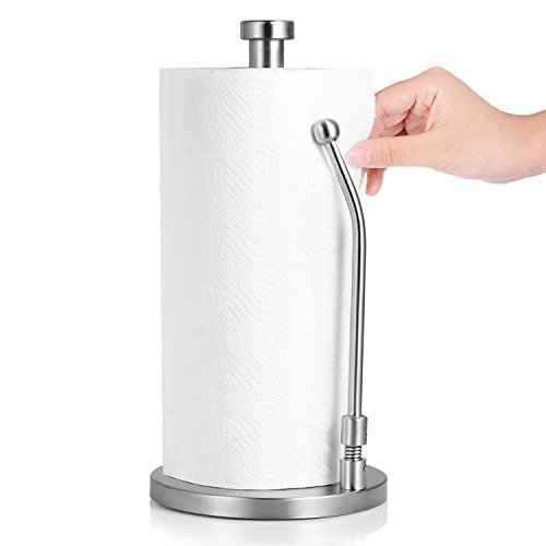 Adoric Life Stand Up Paper Towel Holder, Easy Tear, Sturdy Stainless Steel, Paper Towel Dispenser with Weighted Base for Tissue and Garbage Bags in Roll