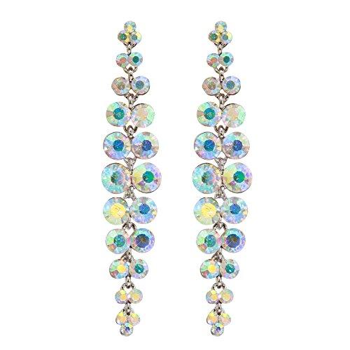 TTjewelry Silver-Tone Bride Wedding Austrian Crystal Chandelier Teardrop Dangle Earrings by T&T jewelry