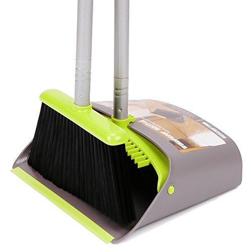 TreeLen Broom and Dustpan Set, Broom with Dust Pan with Long Handle Combo Set for Office and Home Standing Upright Sweep Use with Lobby - Office Set Home