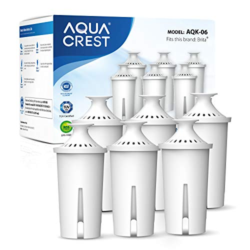 AQUA CREST NSF, TÜV SÜD Certified Pitcher Water Filter, Replacement for Brita Filters, Pitchers, Dispensers, Compatible with Brita Classic OB03, Mavea 107007, 35557, and More (Pack of 6)