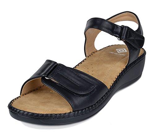DREAM PAIRS Women's Truesoft_05 Black Low Platform Wedges Slingback Flat Sandals Size 9.5 B(M) US -
