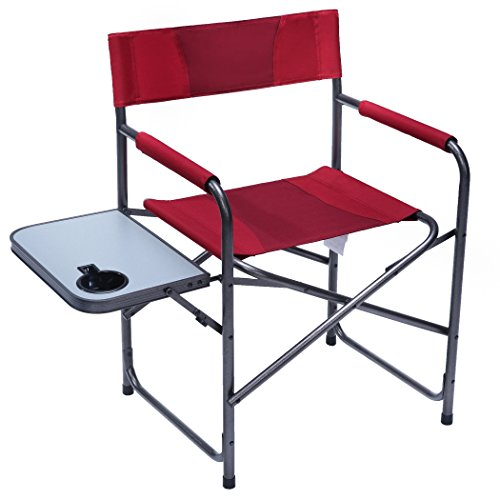 (PORTAL Compact Steel Frame Folding Director's Chair Portable Camping Chair with Side Table, Supports 300 LBS (Red))