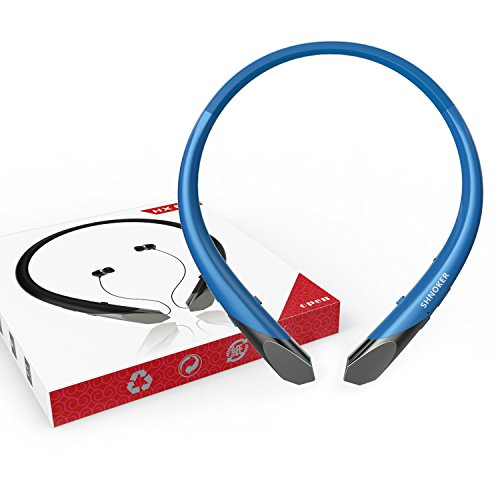 Wireless Neckband Headset with retractable earbuds. (blue)