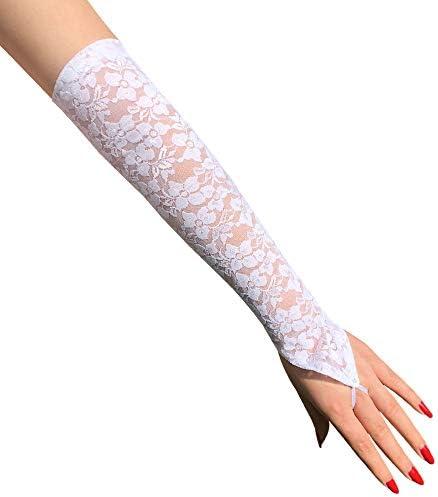 Mode Sexy Handschoenen Bruid Trouwjurk Accessoires Haak Vinger Heldere Strass Kanten Handschoenen Lang
