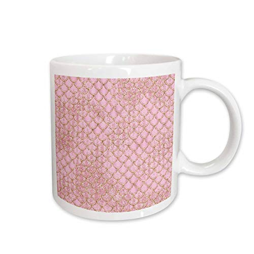 3dRose Anne Marie Baugh - Patterns - Glam Grunge Pink Image Of Glitter Mermaid Scallops - 11oz Two-Tone Green Mug (mug_317677_7)