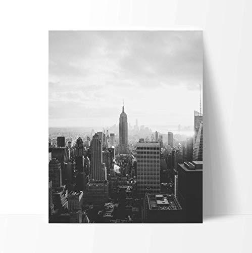 - Manhattan New York City Poster Print Art, 11 x 14 Inches, Black White Grey Color, Modern Home Decor