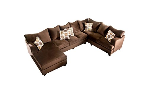 HOMES: Inside + Out Dalton Transitional U-Shaped Sectional, Chocolate