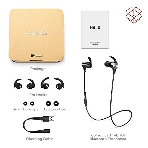 Bluetooth Headphones TaoTronics Wireless 50 Magnetic Earbuds Snug Fit for Sports with Built in Mic